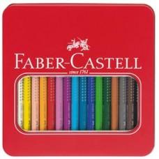 Creioane colorate 16 culori Jumbo Grip cutie metal Faber Castell