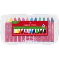 Creioane cerate 12 culori Jumbo in cutie de plastic Faber Castell