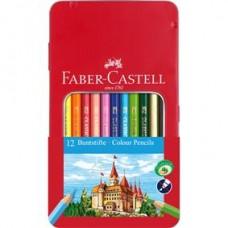 Creioane colorate 12culori cutie metal Faber Castell