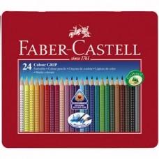 Creioane colorate 24cul/set Grip 2001 in cutie metal Faber Castell