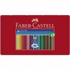 Creioane colorate 36cul/set Grip 2001 in cutie metal Faber Castell