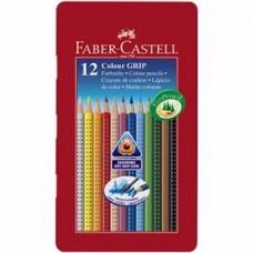 Creioane colorate 12cul/set Grip 2001 in cutie metal Faber Castell