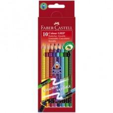 Creioane colorate 10culori cu radiera Grip 2001 Faber Castell