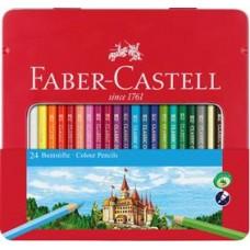Creioane colorate 24culori cutie metal Faber Castell