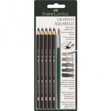 Blister Creion Grafit Aquarelle 5buc si pensula Faber Castell